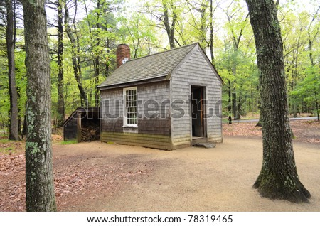Henry David Thoreau cabin replica in the forest - stock photo
