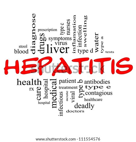 Hepatitis Word Cloud Concept in red and black letters with great terms such as liver, doctors, virus, type b, viral, symptoms and more. - stock photo