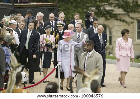 Her Majesty Queen Elizabeth II and Prince Philip, Virginia Governor Timothy M. Kaine and First Lady Anne Holton arriving at the Virginia State Capitol, May 3, 2007 - stock photo