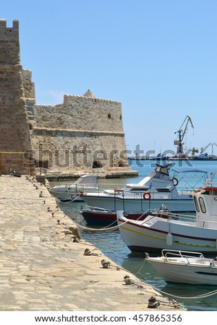 Heraklion Crete, Fishing boats by the Fort