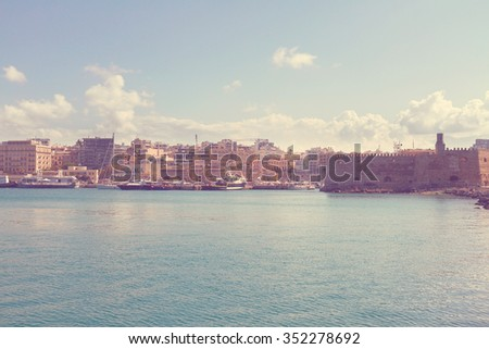 Heraklion old venetian harbour at sunny day, Crete, Greece, retro toned - stock photo