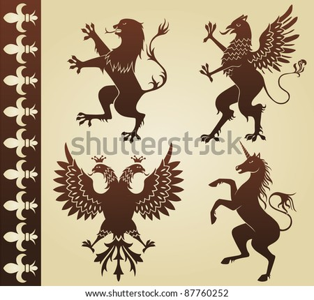 heraldic animals - stock photo
