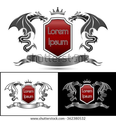 Heraldic emblem with dragon. - stock photo
