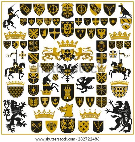 HERALDRY Crests and Symbols  - stock photo