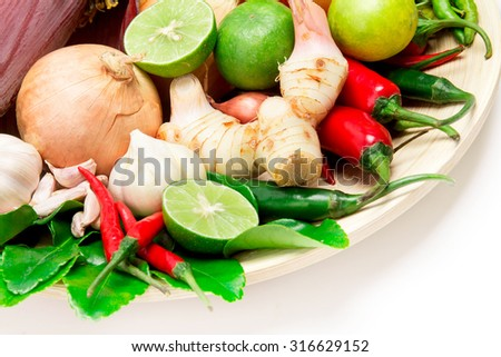herb and spice ingredients for asian food on white background - stock photo