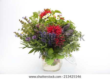 herb bouquet isolated on white background - stock photo