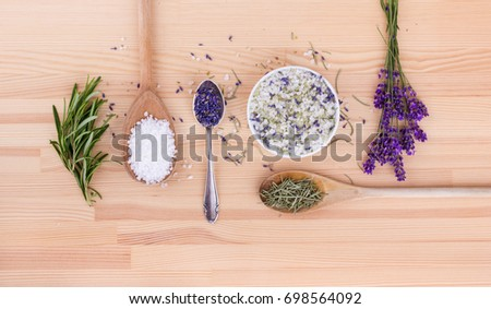 Herb salt of rosemary and lavender blossoms . herbal salt . rosemary and lavender