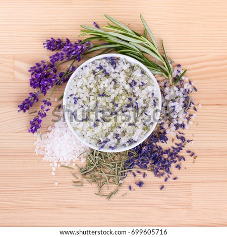 Herb salt with rosemary and lavender blossoms / herbal salt / rosemary and lavender