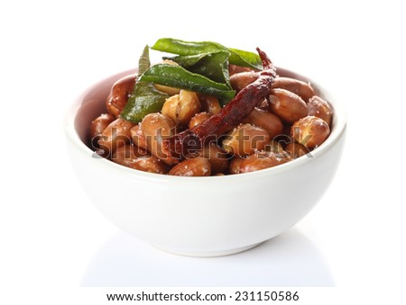 herb salted peanuts  on white background