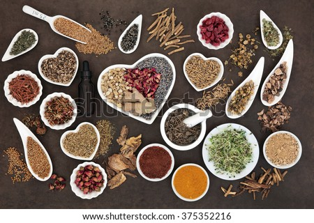 Herb selection used in female alternative herbal medicine with dropper bottle and mortar with pestle over lokta paper background. - stock photo