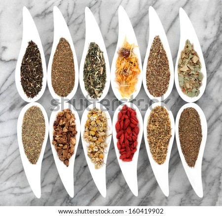 Herb tea selection in white porcelain dishes over marble background. - stock photo