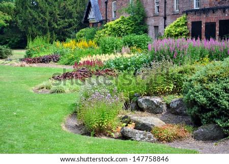Herbaceous border - stock photo