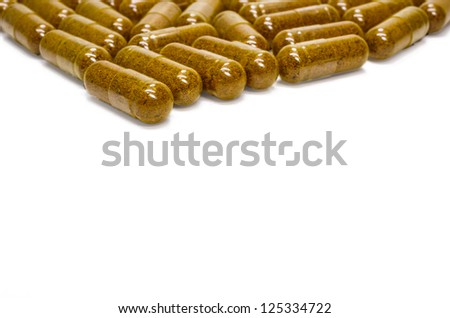 Herbal capsules made �¢??�¢??of turmeric. Relieve flatulence. - stock photo