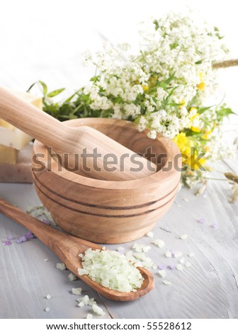 Herbal cosmetics.Spa products - stock photo