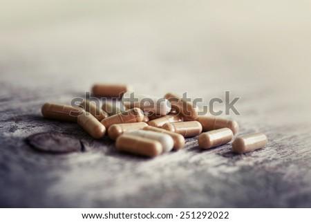 Herbal Drug . an alternative medicine in capsule. - stock photo