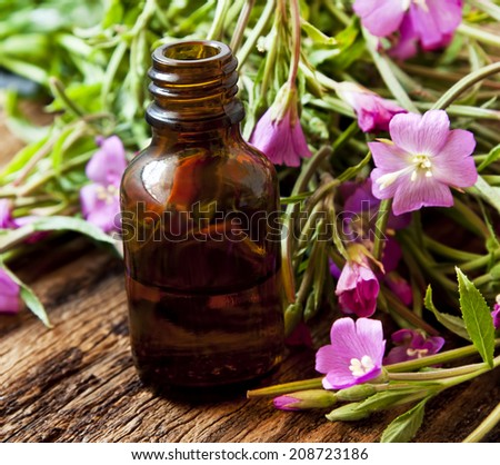 Herbal Essence Bottle, Essential Oil Bottle with Pink Flowers - stock photo