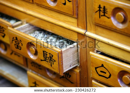 Herbal medicine drawer close-up, various medicinal herbs of traditional oriental medicine
