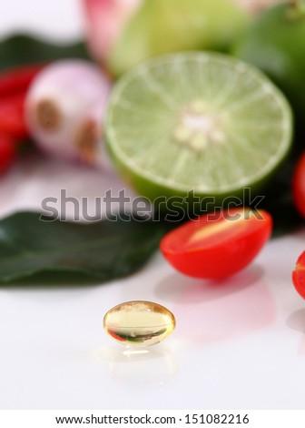 herbal medicine oil pills  - stock photo