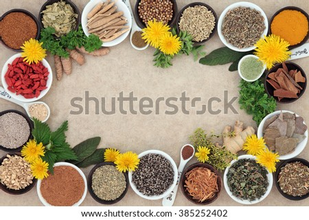 Herbal medicine selection with fresh and dried herbs and spices forming an abstract background on natural hemp paper.   - stock photo