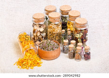 Herbal naturopathic medicine selection also used in pagan witches magical potions over old burlap. - stock photo