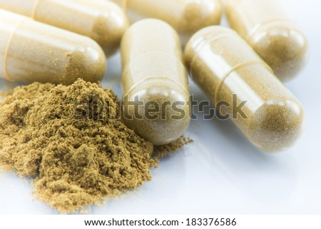 Herbal powder capsules on white glass background - stock photo