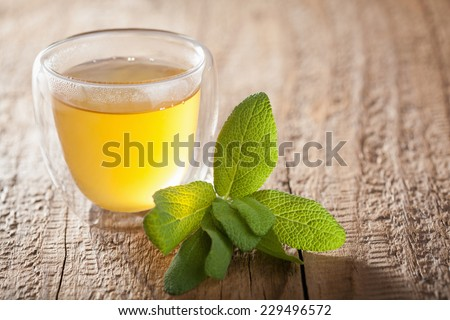 herbal sage tea with green leaves in glass cups - stock photo
