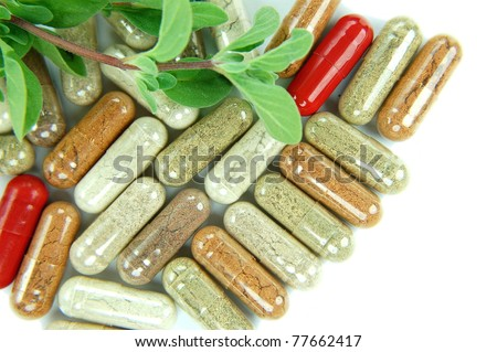 herbal supplement capsules - stock photo