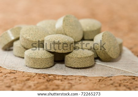 herbal tablets - stock photo