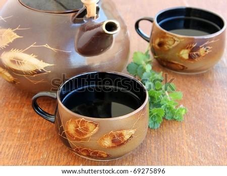 herbal tea on a wooden table