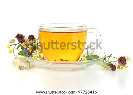Herbal tea on white background - stock photo