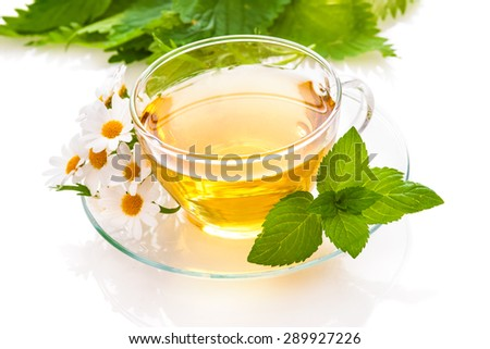 Herbal tea with chamomile and  fresh mint leaves - stock photo