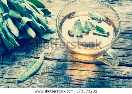 Herbal tea with sage/toned photo - stock photo