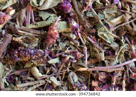 Herbal teas herbs, homeopathy. vegetable raw materials for preparation of tea beverages, medicinal product. alternative medicine - stock photo