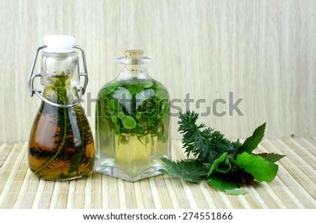 herbal tincture medicines - stock photo