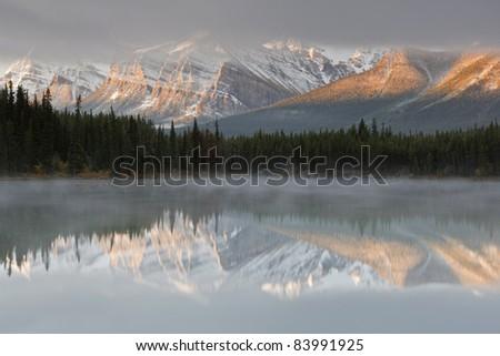Herbert Lake, Icefields Parkway, Banff National Park, Alberta, Canada - stock photo
