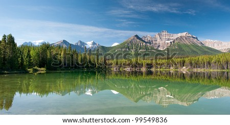 Herbert Lake in Banff national park, Canada - stock photo