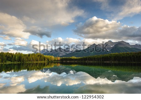 Herbert Lake panorama in Banff National Park, Alberta, Canada - stock photo