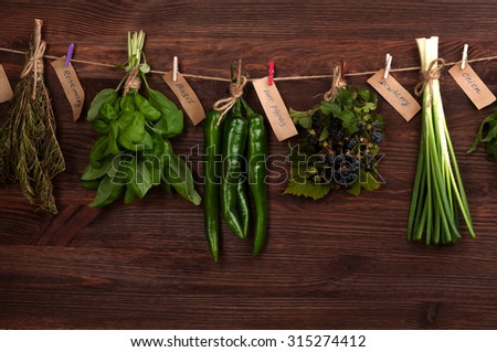 Herbs and spices on a wooden dark background; Dried herbs and spices; cover menu; cookbook; substrate for culinary Web sites - stock photo