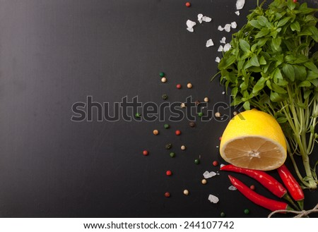 Herbs and spices. Red pepper, salt and rosmary on a black background. With space for text. - stock photo