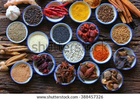 Herbs And Spices. Spice is a natural Use condiment Various type. - stock photo