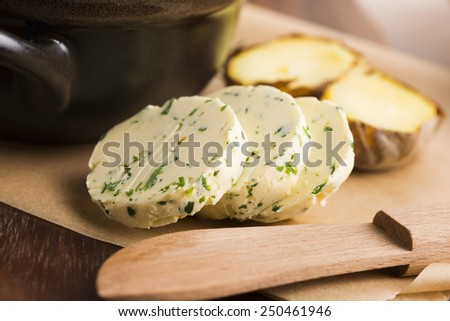 herbs butter - stock photo