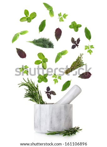 Herbs falling into mortar, isolated on white - stock photo