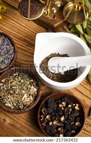 Herbs medicine and vintage wooden - stock photo