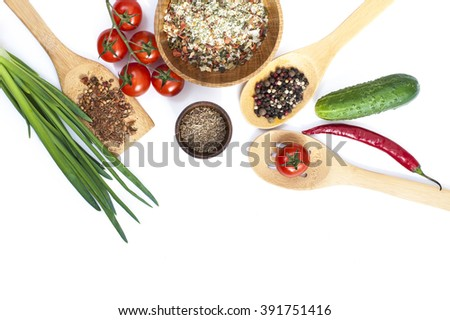 Herbs, spices, fresh organic vegetables on white background. Healthy food, close up