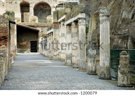 Herculaneum Excavations, ruins from the vulcano eruption, Naples, Italy - stock photo