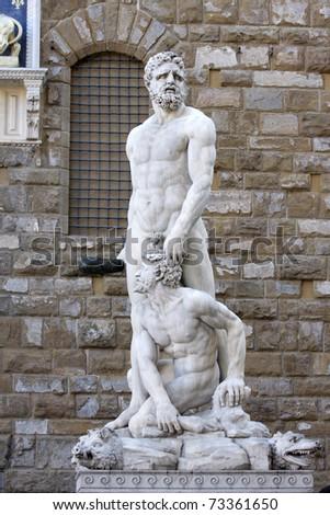 Hercules and Caco statue from Baccio Bandinelli - stock photo