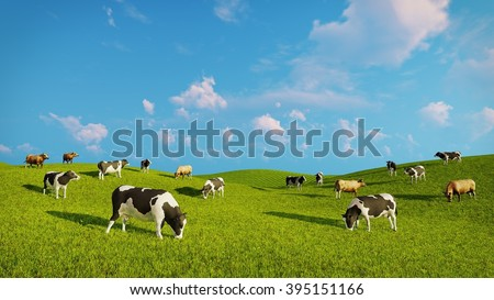 Herd of mottled dairy cows graze on a green pasture under blue cloudy sky at spring day. Realistic 3D illustration was done from my own 3D rendering file.