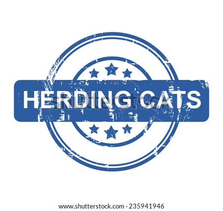 Herding Cats business concept stamp with stars isolated on a white background. - stock photo