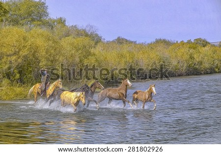 Herding horses across Montana river, photo art - stock photo