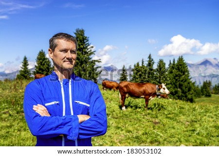 Herdsman standing in front of cows in alpine mountains - stock photo
